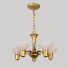 5-Arm Cup Shade Chandelier W/Opalescent Glass, C1940