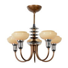 Stunning Bronze-Tone and Chrome Art Moderne Chandelier, c1930
