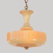 Pre-War Ivory Bowl Chandelier W/Peachtone Highlights, C1940