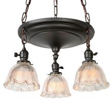 Classic 3-Light Drop Pan Shower W/Prismatic Shades, C1910