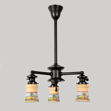 3-Light Spool Fixture w/Hand-Painted shades, C1915