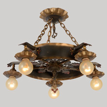 Revival-Style Ring Chandelier In Gilt Wrought Iron, C1930
