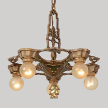 Art Deco Polychrome 5-Light Chandelier, c1930