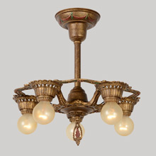 Bronze Gilt Cast 5-Light Revival Semi-Flush Fixture, c1925