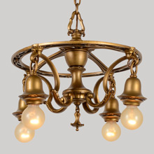 Elegantly Unusual Colonial Revival 4-Light Antique Gilt Chandelier, c1926