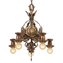 Antique Classical Revival Cameo Chandelier, c1930