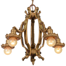 Nicely Cast Revival-Style Polychrome Chandelier C1927