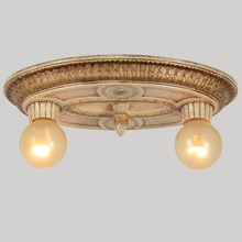 Classical Revival Gilded 2-Light Ceiling Fixture, c1925
