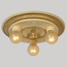 Classical Revival Gilded Three-Light Ceiling Fixture, c1925