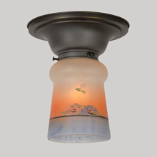 Classic Flush-Mount with Handpainted Floral Cone Shade