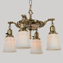 Quintessential Classical Revival Brass Pan Light, c1924