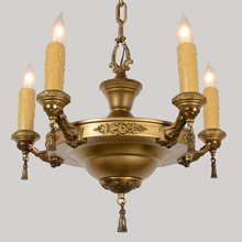 Decorative Gilt Pan Chandelier W/Floral Accents, c1920