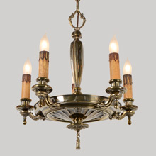 Lovely Aged Brass Colonial Pan Chandelier, c1920