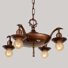 Four-Light Empire Pan Chandelier, C1935