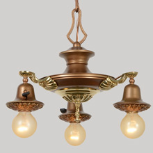 Three-Light Gilt Colonial Pan Fixture, C1925