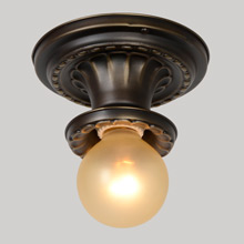 Sweetly Scalloped Bare Bulb Flush Fixture, c1925