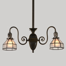 Transitional Mission 2-Light Chandelier w/Faux Leaded Shades, c1910