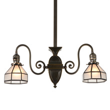 Transitional Mission Chandelier w/Faux Leaded Shades c1910