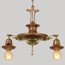 Two-Light Gilt Colonial Revival Pan Fixture, c1925