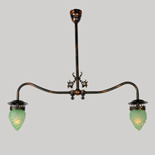 Truly Awesome & Unusual Converted Gas Chandelier w/Grape Shades, c1905