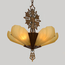 "5-Light Virden ""Rayburn"" Chandelier W/Amber Shades, c1933"