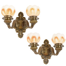 Pair of Ornate Beaux Arts Bradley & Hubbard Sconces c1920