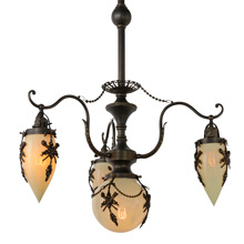 Rare Empire Chandelier w/Straw Opalescent Glass c1898