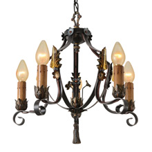 Exceptional Revival-Style  Candle Strap Chandelier, C1925