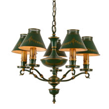 Charming 5-Light Tole Chandelier c1940s