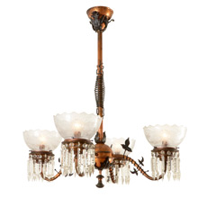 4-Light Victorian Copper Chandelier w/ Tendril Motif c1885