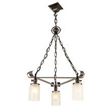 Wrought Iron Mission 3-Light Chandelier by Beardslee c1910