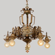 Exotic Revival Chandelier w/Galleon Panels, c1927