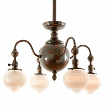 Japanned Copper Chandelier w/ Holophane Shades C1910