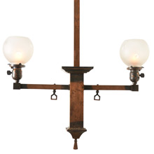 Mission 2-Light Copper Fixture W/Wheel-Cut Shades, C1900