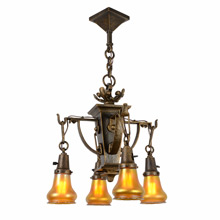Ornate American Arts and Crafts Chandelier with Quezal Shades C1915