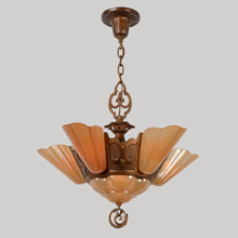 Dramatic 6-light Slipper-Shade Chandelier, c1930