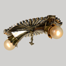 Art Deco Flush 2-Light Pan In Antique Gilt, C1935