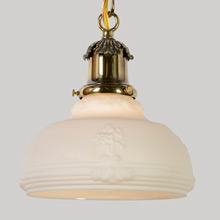 Classically Inspired Pendant W/Satin Shade, C1925