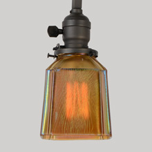 Mission Pole Pendant with Iridized Amber Carnival Shade, c1917