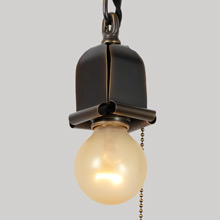 Mission Rolled-Metal Bare Bulb Pendant, c1915