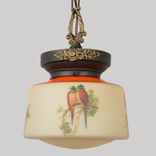 Chain Pendant W/Beautiful Bird-Decorated Shade, C1928