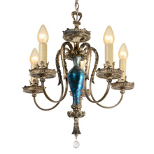 Abundant Silver Classical Revival Chandelier w/ Art Glass C1925