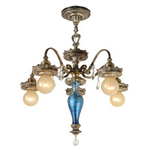 Ornate Silver Classical Revival Chandelier with Art Glass C1925