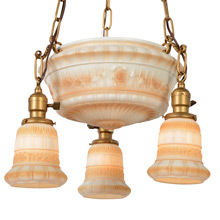 Charming Bowl Fixture W/Garland Shade Set, c1915