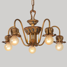 5-Arm Colonial Revival Chandelier w/Fancy Details, c1928