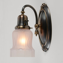 Pair of Colonial Revival Wall Sconces w/ Satin Shade, c1920