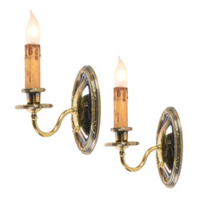 "Pair Of Colonial Revival ""Ribbon & Reed"" Wall Sconces, circa 1920"