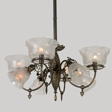Filigreed Empire Gas/Electric Combination   Chandelier, C1890
