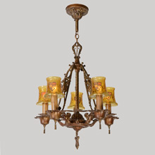 5-Light Revival Chandelier w/ Heraldic Amber Crackle Shades by Phoenix, c1927