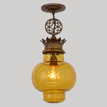 Historic Revival Pendant w/Wheel-Cut Glass Shade C1925